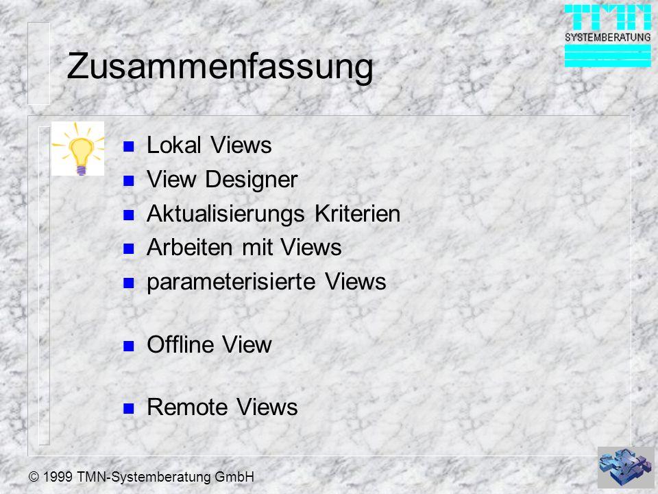© 1999 TMN-Systemberatung GmbH Zusammenfassung n Lokal Views n View Designer n Aktualisierungs Kriterien n Arbeiten mit Views n parameterisierte Views