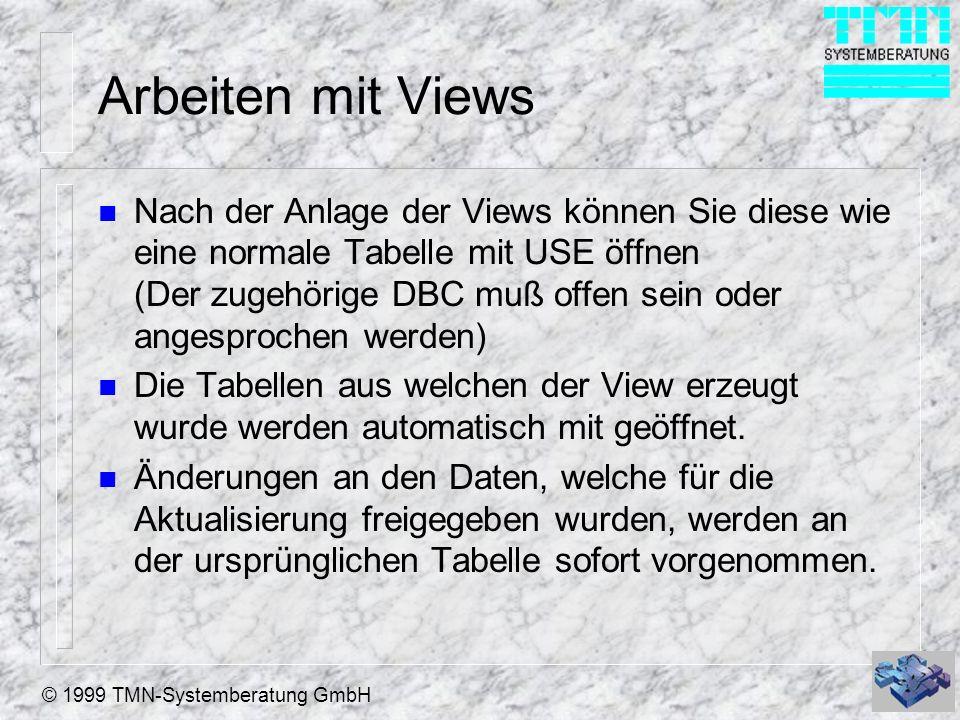 © 1999 TMN-Systemberatung GmbH Arbeiten mit Views n Views können wie Tabellen mit Buffering arbeiten und über Relationen mit anderen Tabellen verknüpft werden.