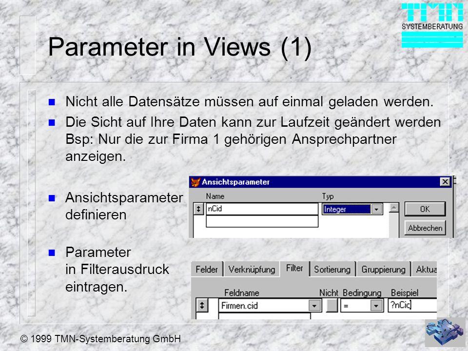 © 1999 TMN-Systemberatung GmbH Parameter in Views (1) n Nicht alle Datensätze müssen auf einmal geladen werden. n Die Sicht auf Ihre Daten kann zur La