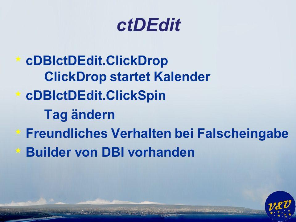 ctDEdit * cDBIctDEdit.ClickDrop ClickDrop startet Kalender * cDBIctDEdit.ClickSpin Tag ändern * Freundliches Verhalten bei Falscheingabe * Builder von DBI vorhanden