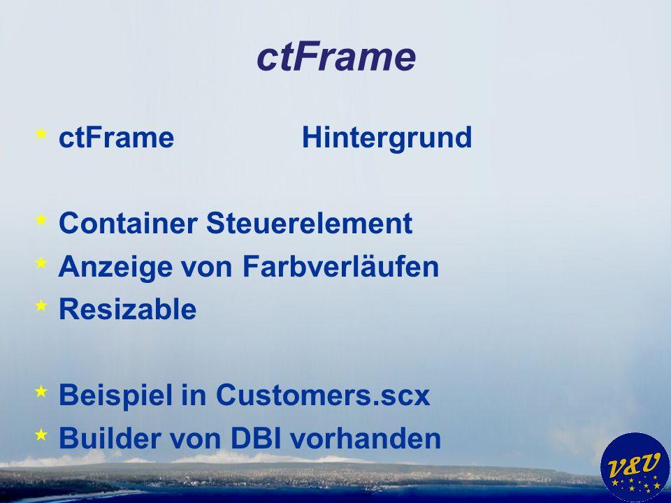 ctFrame * ctFrameHintergrund * Container Steuerelement * Anzeige von Farbverläufen * Resizable * Beispiel in Customers.scx * Builder von DBI vorhanden