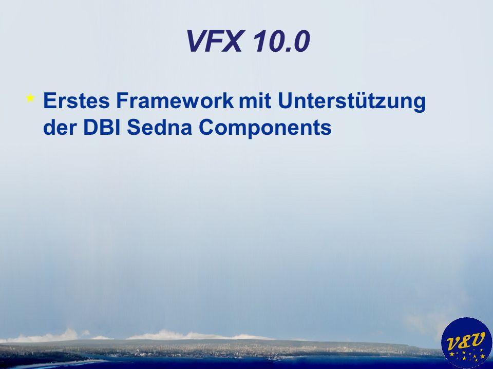 Sedna * VFP 9 SP 2 * Upsizing Wizard * Data Explorer * Sedna Reporting Features * VistaDialogs4COM * NET4COM * MY for VFP * VS 2005 Extension for VFP * DBI Sedna Components