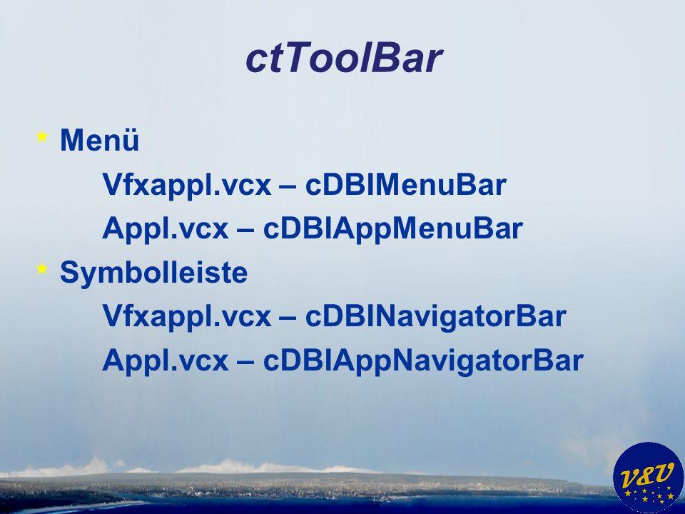 ctToolBar * Menü Vfxappl.vcx – cDBIMenuBar Appl.vcx – cDBIAppMenuBar * Symbolleiste Vfxappl.vcx – cDBINavigatorBar Appl.vcx – cDBIAppNavigatorBar