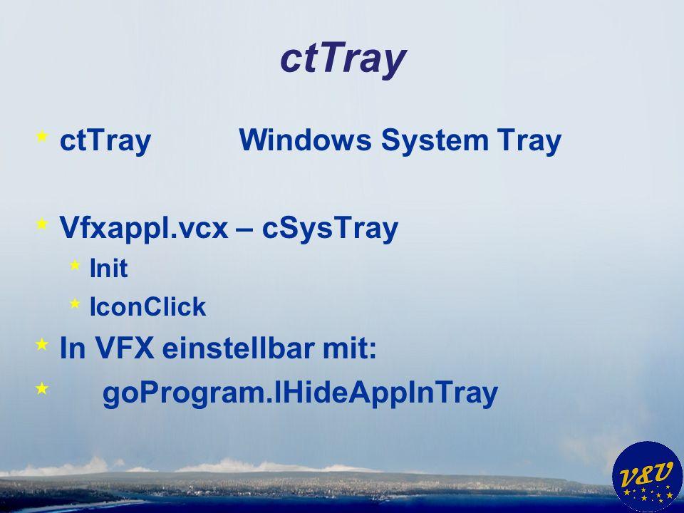 ctTray * ctTrayWindows System Tray * Vfxappl.vcx – cSysTray * Init * IconClick * In VFX einstellbar mit: * goProgram.lHideAppInTray