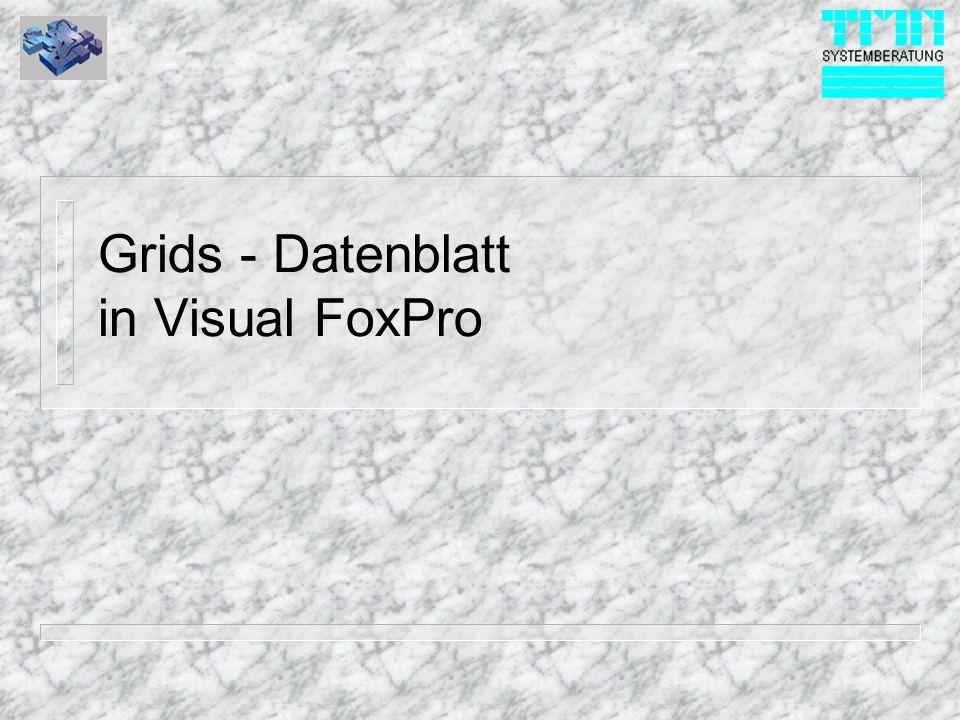 © 1999 TMN-Systemberatung GmbH Grid - Control Objekte löschen n Controls entfernen: – Sie entfernen Controls indem Sie das gewünschte Control im Eigenschaftsfenster auswählen, nachfolgend auch einen Bildschirmbereich außerhalb der Form Klicken und danach die ENTF Taste drücken.