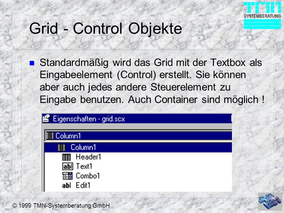 © 1999 TMN-Systemberatung GmbH Grid - Control Objekte n Standardmäßig wird das Grid mit der Textbox als Eingabeelement (Control) erstellt. Sie können