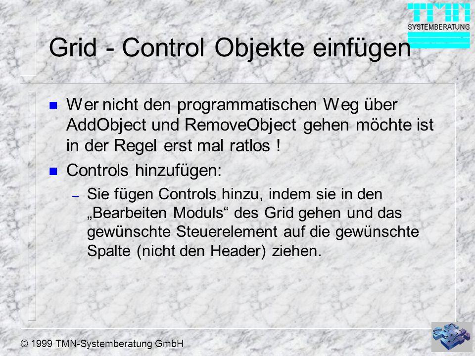 © 1999 TMN-Systemberatung GmbH Grid - Control Objekte einfügen n Wer nicht den programmatischen Weg über AddObject und RemoveObject gehen möchte ist i
