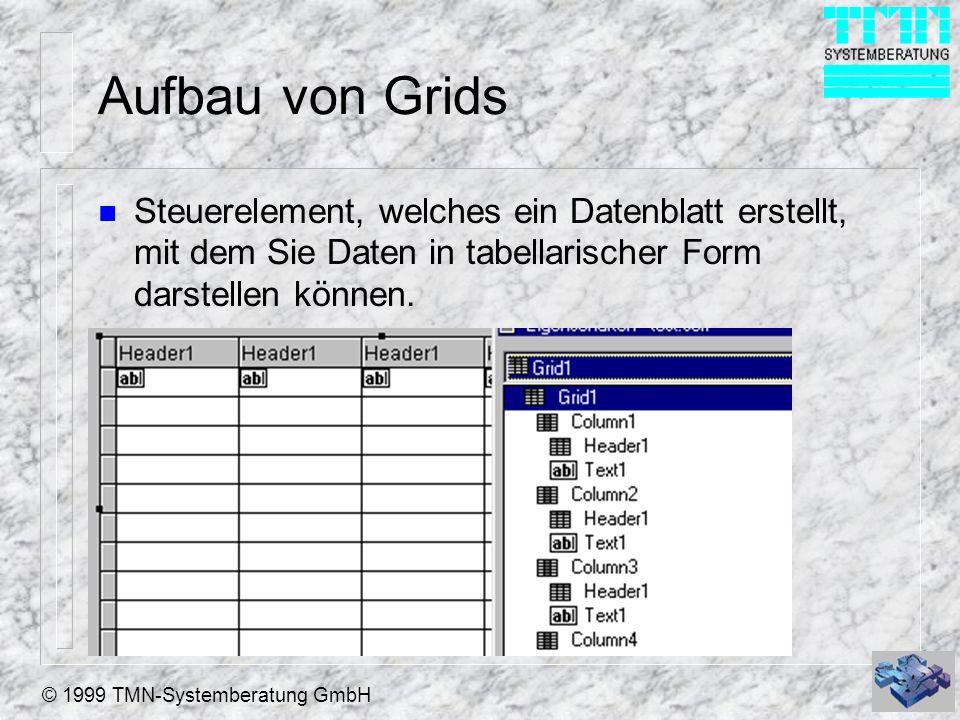 © 1999 TMN-Systemberatung GmbH Aufbau von Grids n Das Grid ist ein Container Objekt n Das Grids enthält Spalten (Columns), Spaltenkopfelemente (Header) und Steuerelemente (Controls).