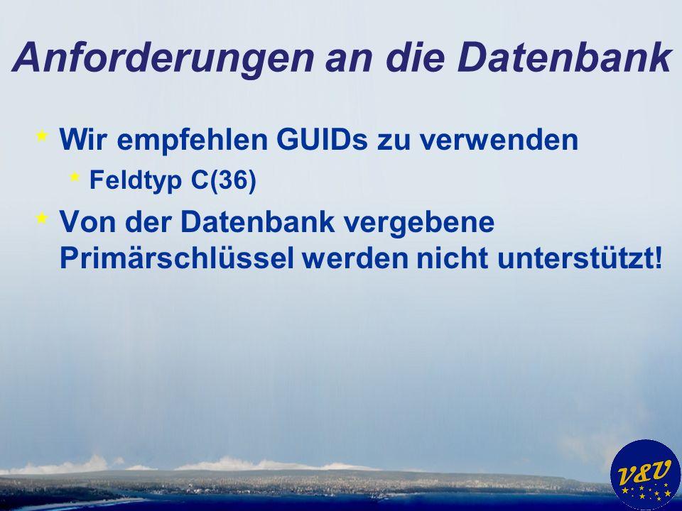 Anforderungen an die Datenbank * Wir empfehlen GUIDs zu verwenden * Feldtyp C(36) * Von der Datenbank vergebene Primärschlüssel werden nicht unterstützt!
