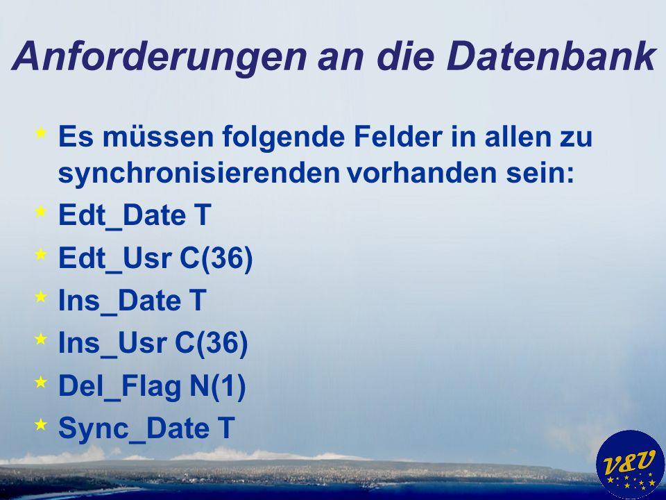 Anforderungen an die Datenbank * Es müssen folgende Felder in allen zu synchronisierenden vorhanden sein: * Edt_Date T * Edt_Usr C(36) * Ins_Date T * Ins_Usr C(36) * Del_Flag N(1) * Sync_Date T