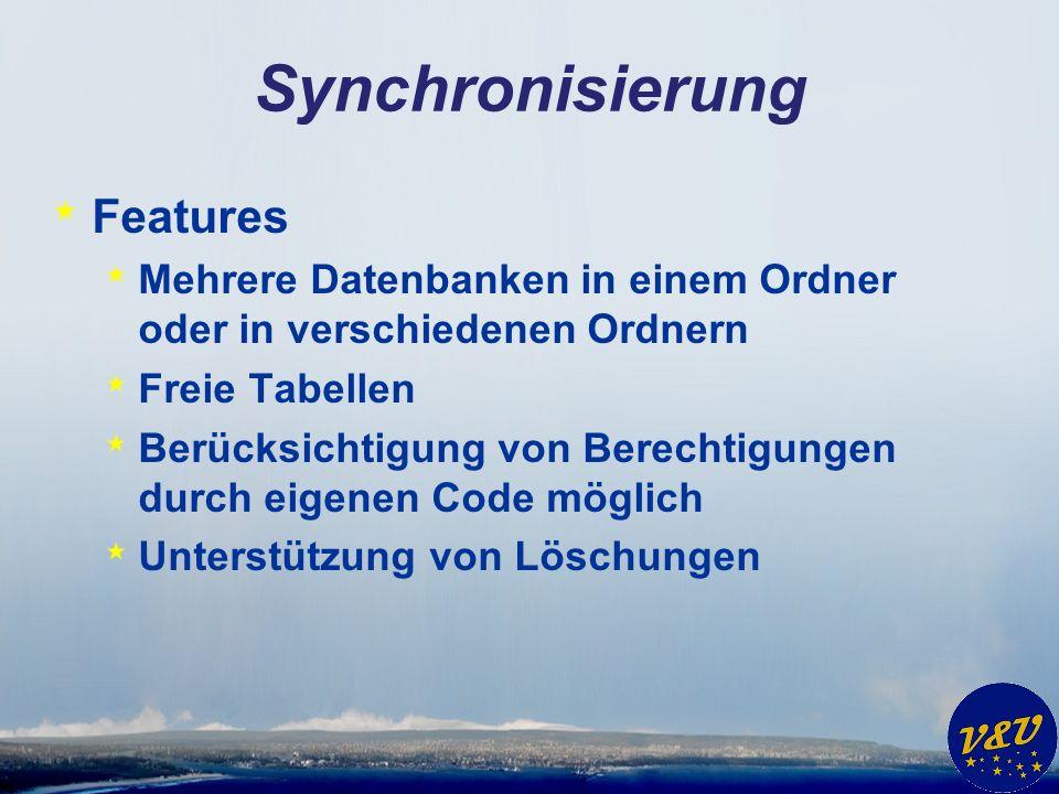 Synchronisierung * Features * Mehrere Datenbanken in einem Ordner oder in verschiedenen Ordnern * Freie Tabellen * Berücksichtigung von Berechtigungen durch eigenen Code möglich * Unterstützung von Löschungen