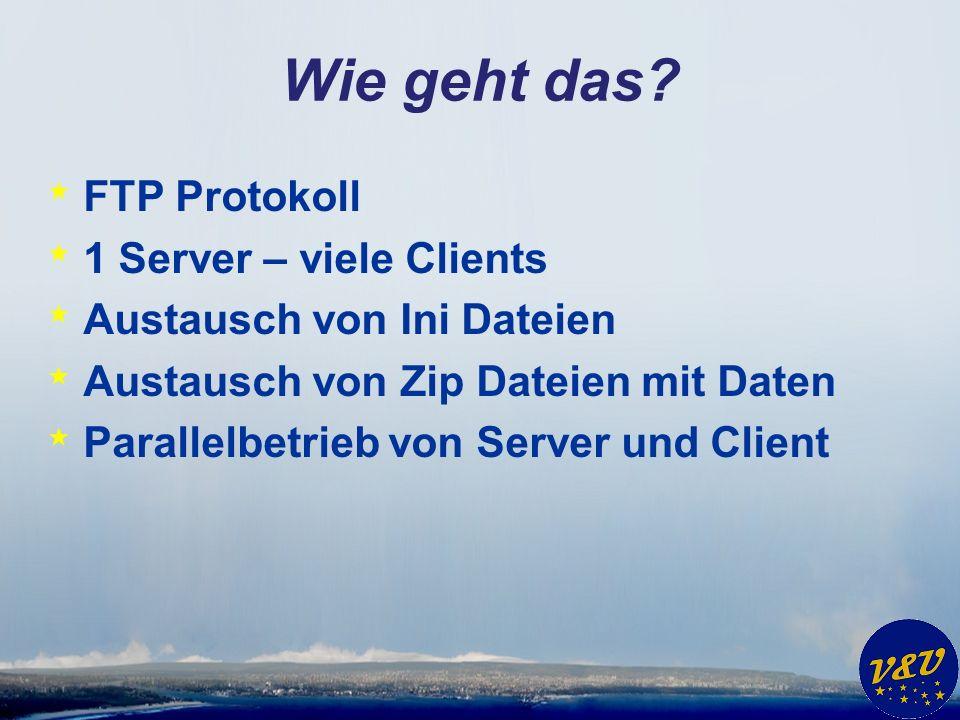 Wie geht das? * FTP Protokoll * 1 Server – viele Clients * Austausch von Ini Dateien * Austausch von Zip Dateien mit Daten * Parallelbetrieb von Serve