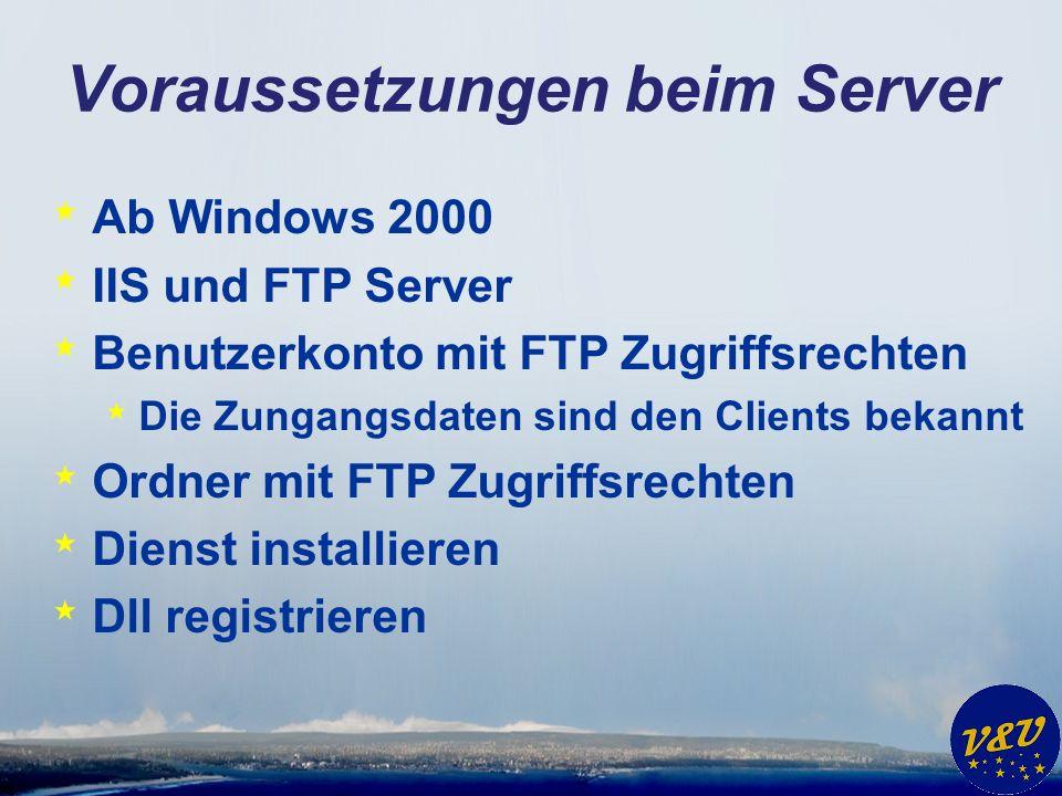 Voraussetzungen beim Server * Ab Windows 2000 * IIS und FTP Server * Benutzerkonto mit FTP Zugriffsrechten * Die Zungangsdaten sind den Clients bekann