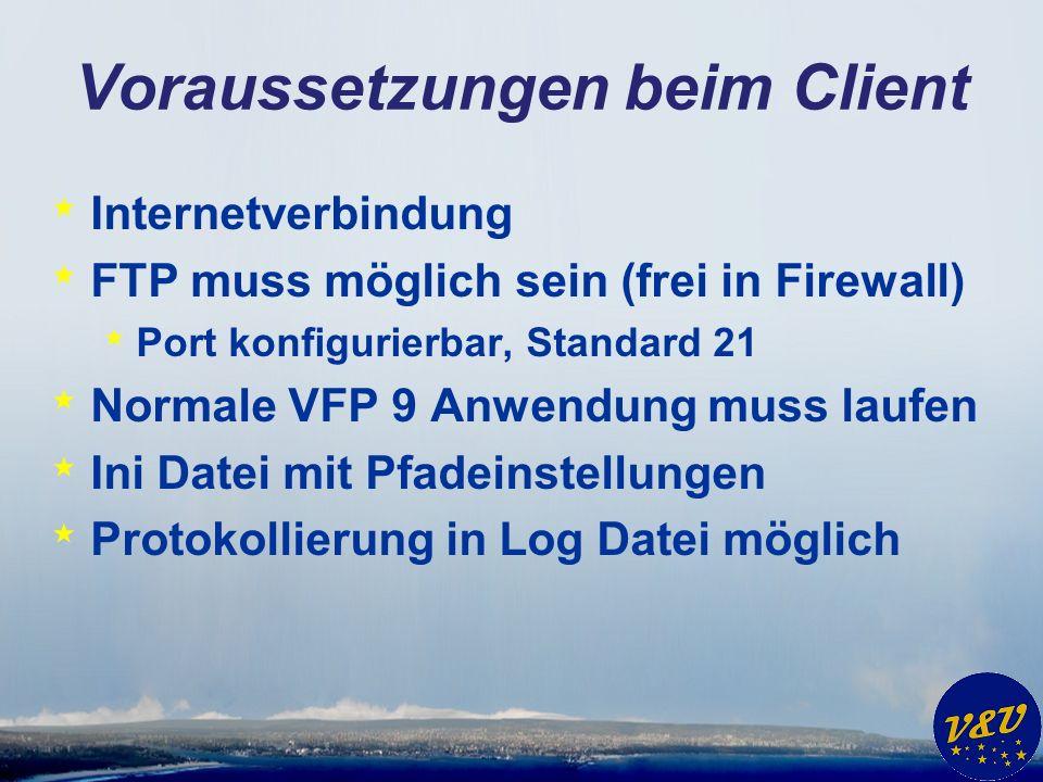 Voraussetzungen beim Client * Internetverbindung * FTP muss möglich sein (frei in Firewall) * Port konfigurierbar, Standard 21 * Normale VFP 9 Anwendung muss laufen * Ini Datei mit Pfadeinstellungen * Protokollierung in Log Datei möglich