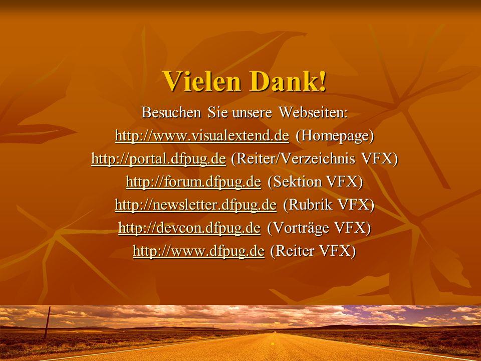 Vielen Dank! Besuchen Sie unsere Webseiten: http://www.visualextend.dehttp://www.visualextend.de (Homepage) http://www.visualextend.de http://portal.d