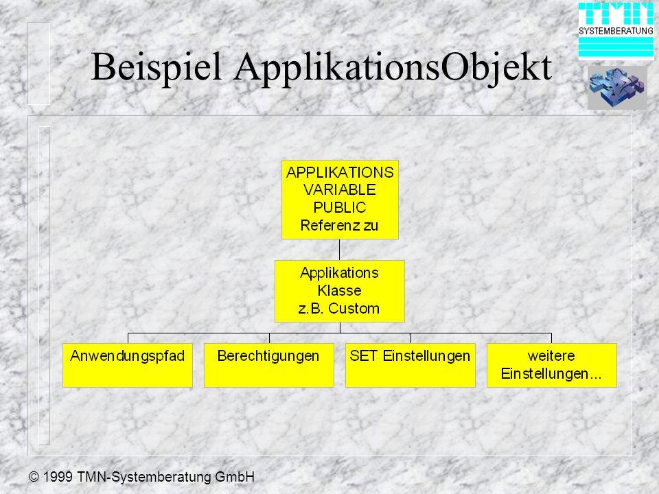 © 1999 TMN-Systemberatung GmbH Beispiel ApplikationsObjekt