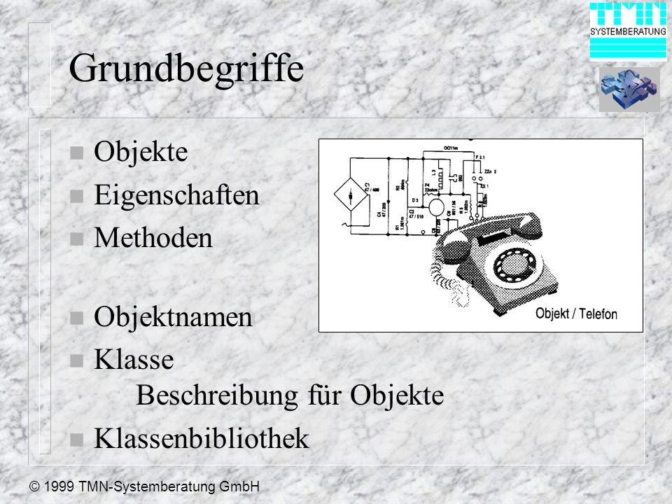© 1999 TMN-Systemberatung GmbH Grundbegriffe n Objekte n Eigenschaften n Methoden n Objektnamen n Klasse Beschreibung für Objekte n Klassenbibliothek