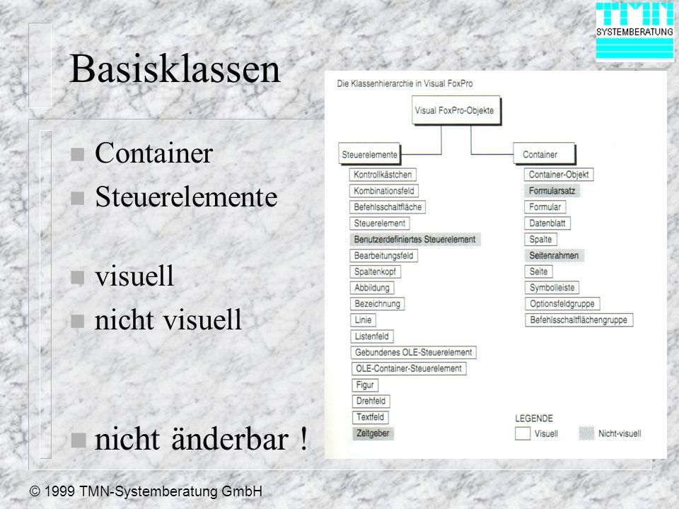 © 1999 TMN-Systemberatung GmbH Basisklassen n Container n Steuerelemente n visuell n nicht visuell n nicht änderbar !