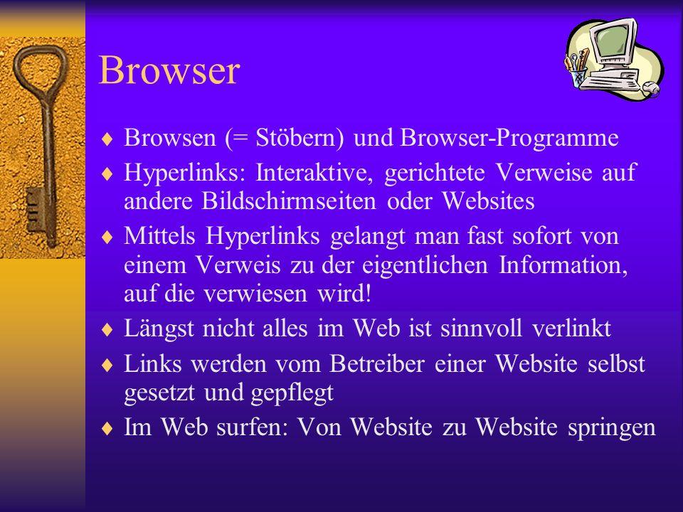 Browser Browsen (= Stöbern) und Browser-Programme Hyperlinks: Interaktive, gerichtete Verweise auf andere Bildschirmseiten oder Websites Mittels Hyper