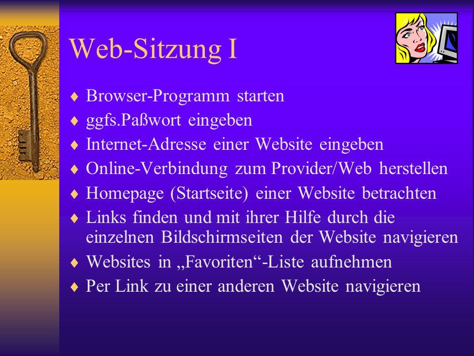 Web-Sitzung I Browser-Programm starten ggfs.Paßwort eingeben Internet-Adresse einer Website eingeben Online-Verbindung zum Provider/Web herstellen Hom