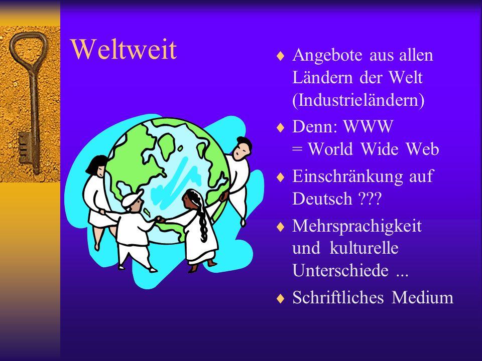 Weltweit Angebote aus allen Ländern der Welt (Industrieländern) Denn: WWW = World Wide Web Einschränkung auf Deutsch ??? Mehrsprachigkeit und kulturel