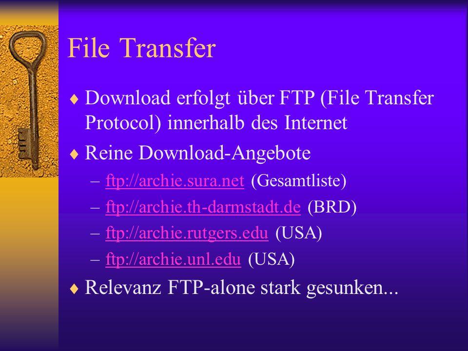File Transfer Download erfolgt über FTP (File Transfer Protocol) innerhalb des Internet Reine Download-Angebote –ftp://archie.sura.net (Gesamtliste)ft