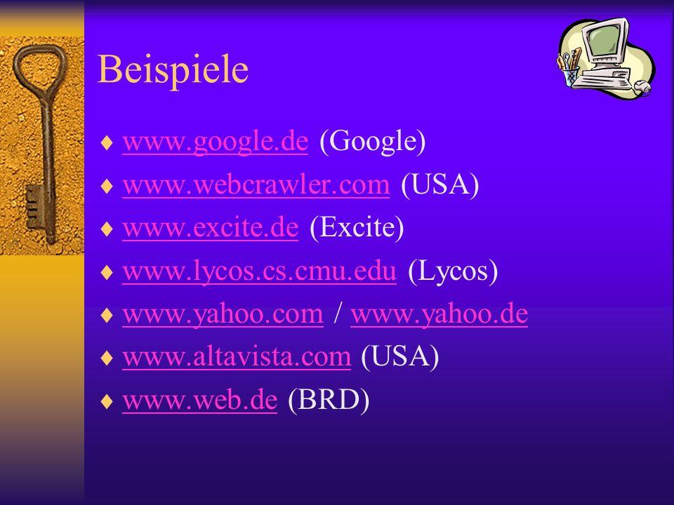 Beispiele www.google.de (Google) www.google.de www.webcrawler.com (USA) www.webcrawler.com www.excite.de (Excite) www.excite.de www.lycos.cs.cmu.edu (