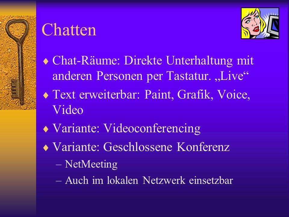 Chatten Chat-Räume: Direkte Unterhaltung mit anderen Personen per Tastatur. Live Text erweiterbar: Paint, Grafik, Voice, Video Variante: Videoconferen