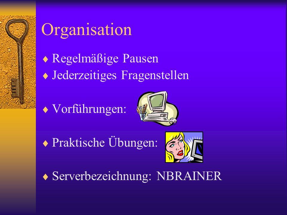 Organisation Regelmäßige Pausen Jederzeitiges Fragenstellen Vorführungen: Praktische Übungen: Serverbezeichnung: NBRAINER