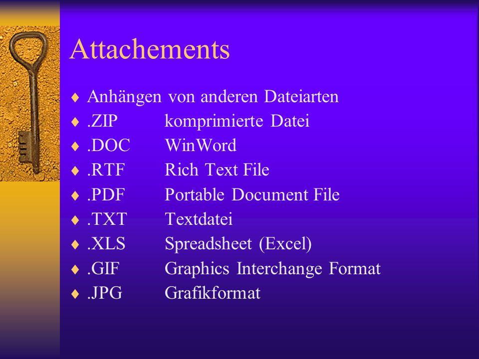 Attachements Anhängen von anderen Dateiarten.ZIPkomprimierte Datei.DOCWinWord.RTFRich Text File.PDFPortable Document File.TXTTextdatei.XLSSpreadsheet