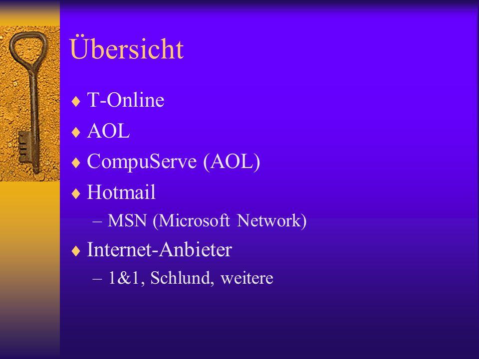 Übersicht T-Online AOL CompuServe (AOL) Hotmail –MSN (Microsoft Network) Internet-Anbieter –1&1, Schlund, weitere