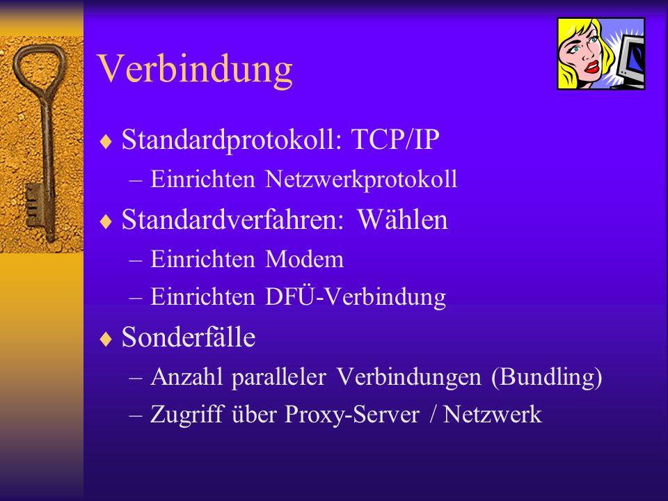 Verbindung Standardprotokoll: TCP/IP –Einrichten Netzwerkprotokoll Standardverfahren: Wählen –Einrichten Modem –Einrichten DFÜ-Verbindung Sonderfälle