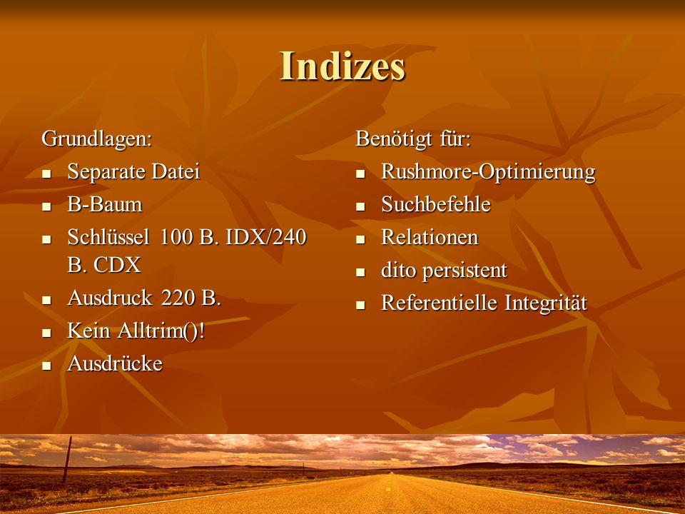 Indizes Grundlagen: Separate Datei Separate Datei B-Baum B-Baum Schlüssel 100 B. IDX/240 B. CDX Schlüssel 100 B. IDX/240 B. CDX Ausdruck 220 B. Ausdru