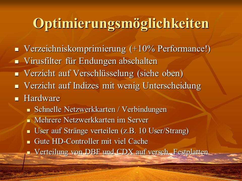 Optimierungsmöglichkeiten Verzeichniskomprimierung (+10% Performance!) Verzeichniskomprimierung (+10% Performance!) Virusfilter für Endungen abschalte