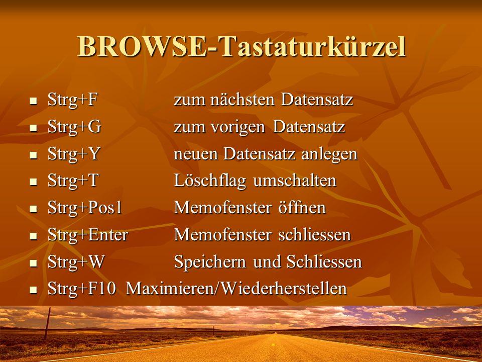BROWSE-Tastaturkürzel Strg+Fzum nächsten Datensatz Strg+Fzum nächsten Datensatz Strg+Gzum vorigen Datensatz Strg+Gzum vorigen Datensatz Strg+Yneuen Da