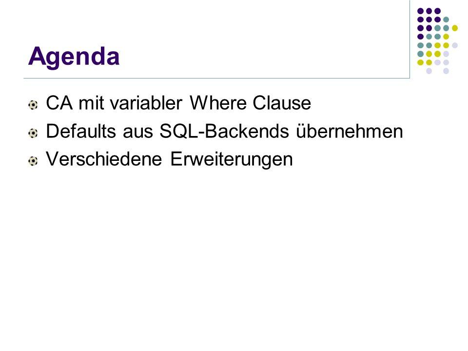 Agenda CA mit variabler Where Clause Defaults aus SQL-Backends übernehmen Verschiedene Erweiterungen