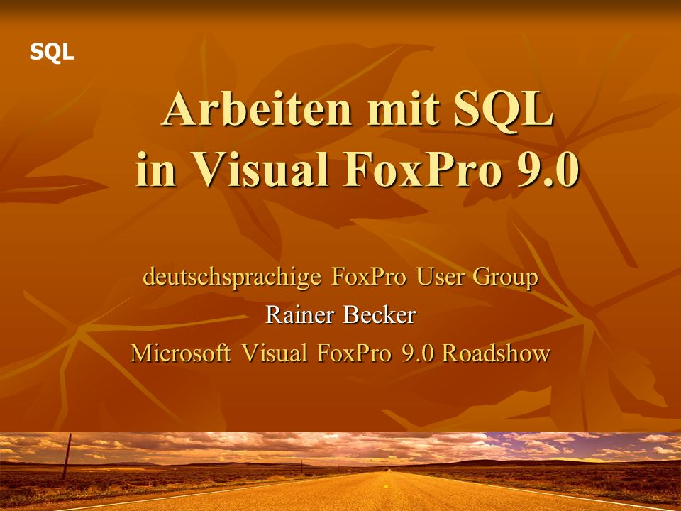 Arbeiten mit SQL in Visual FoxPro 9.0 deutschsprachige FoxPro User Group Rainer Becker Microsoft Visual FoxPro 9.0 Roadshow SQL