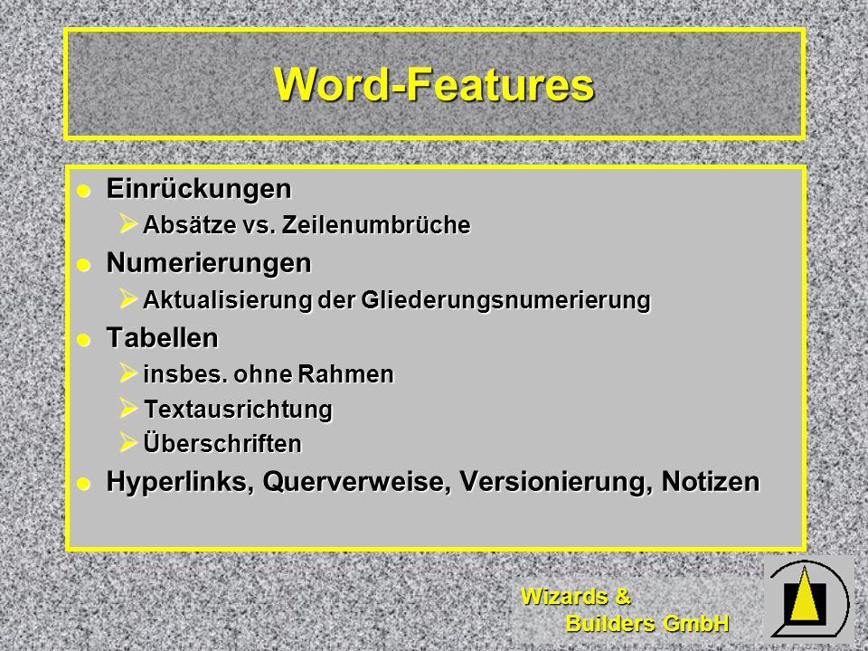 Wizards & Builders GmbH Word-Features Einrückungen Einrückungen Absätze vs. Zeilenumbrüche Absätze vs. Zeilenumbrüche Numerierungen Numerierungen Aktu