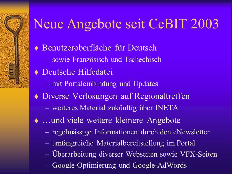 Neue Angebote seit CeBIT 2003 Benutzeroberfläche für Deutsch –sowie Französisch und Tschechisch Deutsche Hilfedatei –mit Portaleinbindung und Updates