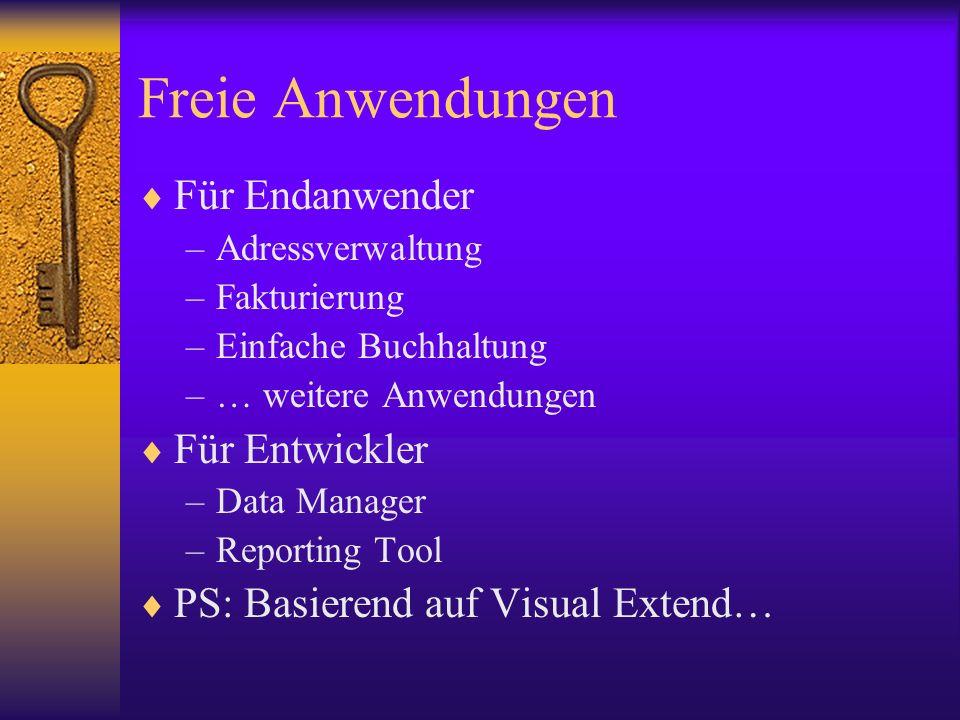 Freie Anwendungen Für Endanwender –Adressverwaltung –Fakturierung –Einfache Buchhaltung –… weitere Anwendungen Für Entwickler –Data Manager –Reporting Tool PS: Basierend auf Visual Extend…