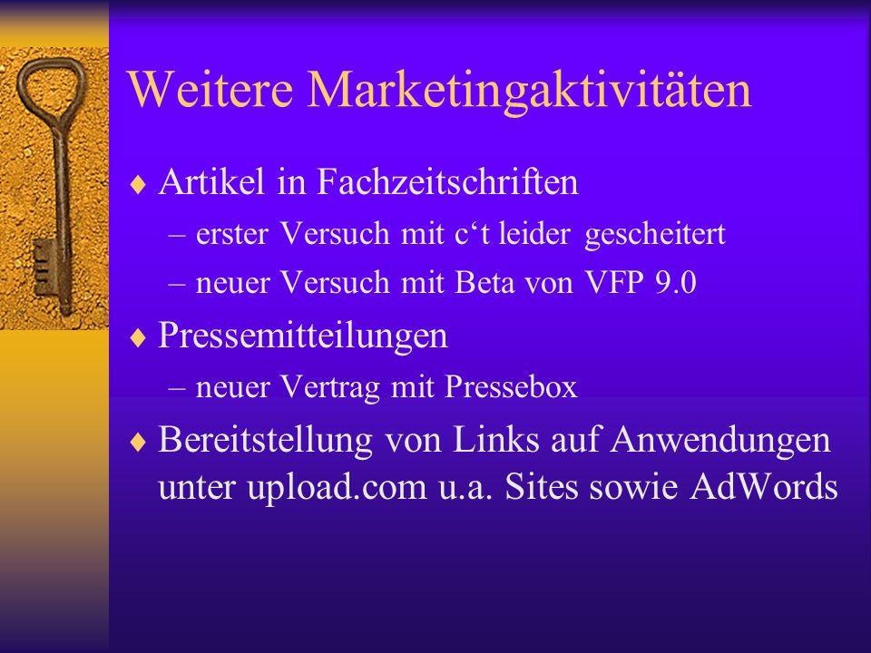 Weitere Marketingaktivitäten Artikel in Fachzeitschriften –erster Versuch mit ct leider gescheitert –neuer Versuch mit Beta von VFP 9.0 Pressemitteilu