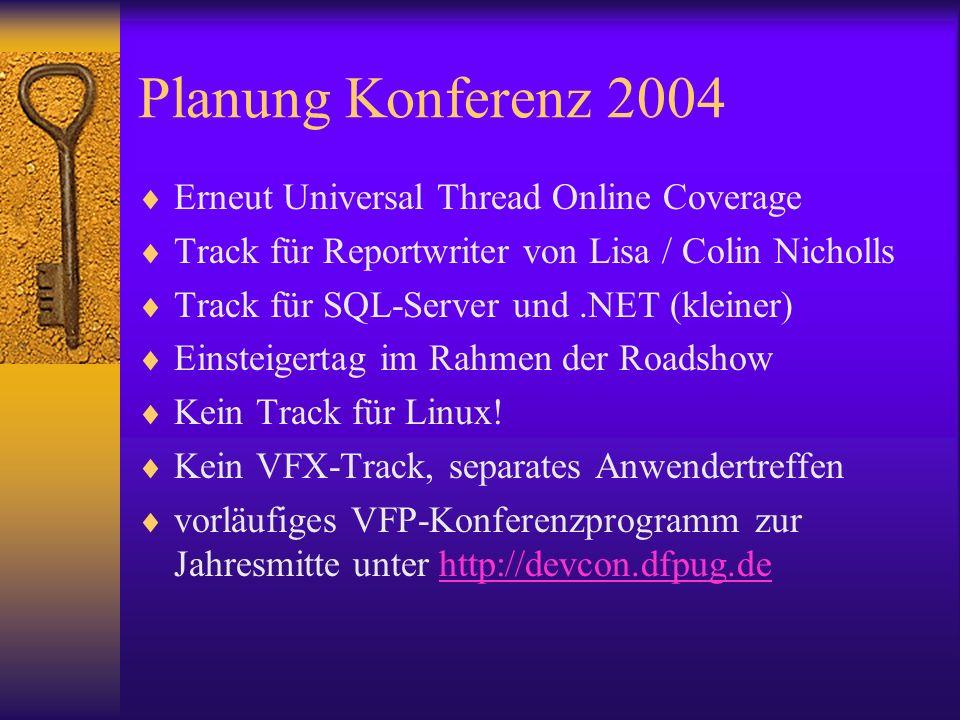 Planung Konferenz 2004 Erneut Universal Thread Online Coverage Track für Reportwriter von Lisa / Colin Nicholls Track für SQL-Server und.NET (kleiner) Einsteigertag im Rahmen der Roadshow Kein Track für Linux.