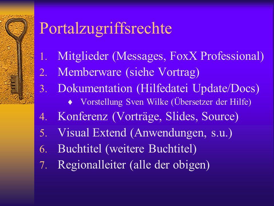 Portalzugriffsrechte 1. Mitglieder (Messages, FoxX Professional) 2. Memberware (siehe Vortrag) 3. Dokumentation (Hilfedatei Update/Docs) Vorstellung S