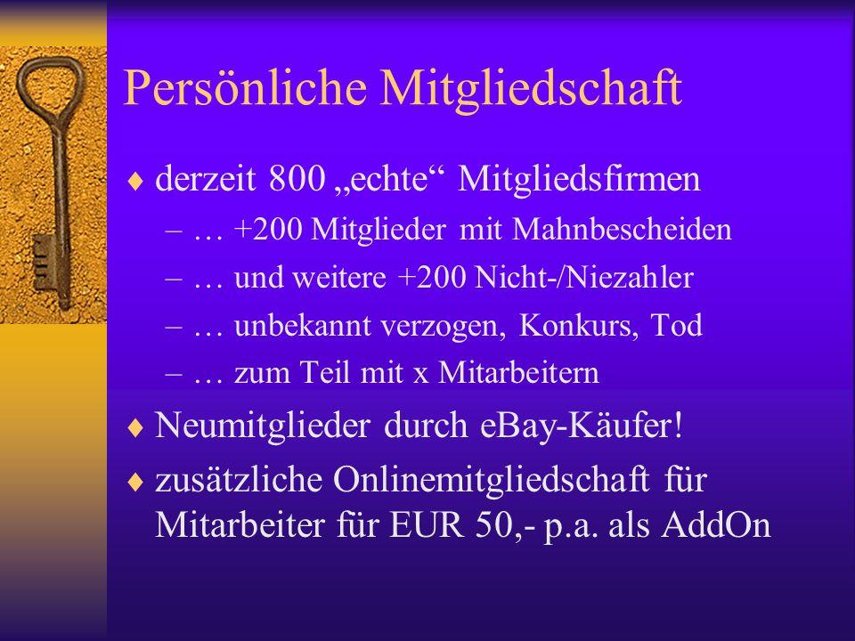 Persönliche Mitgliedschaft derzeit 800 echte Mitgliedsfirmen –… +200 Mitglieder mit Mahnbescheiden –… und weitere +200 Nicht-/Niezahler –… unbekannt v