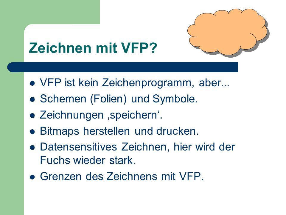 Zeichnen mit VFP? VFP ist kein Zeichenprogramm, aber... Schemen (Folien) und Symbole. Zeichnungen speichern. Bitmaps herstellen und drucken. Datensens