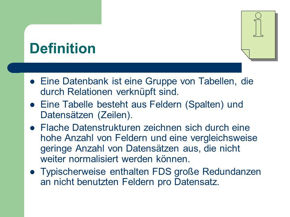 Definition Eine Datenbank ist eine Gruppe von Tabellen, die durch Relationen verknüpft sind. Eine Tabelle besteht aus Feldern (Spalten) und Datensätze