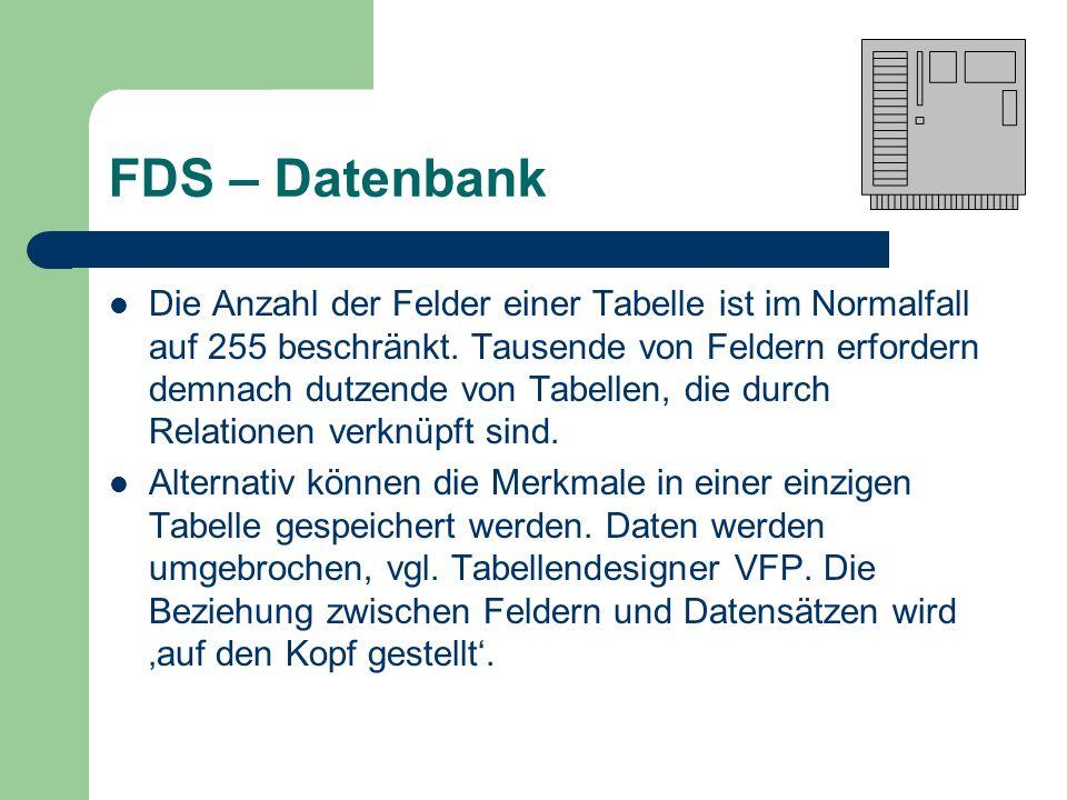 FDS – Datenbank Die Anzahl der Felder einer Tabelle ist im Normalfall auf 255 beschränkt. Tausende von Feldern erfordern demnach dutzende von Tabellen