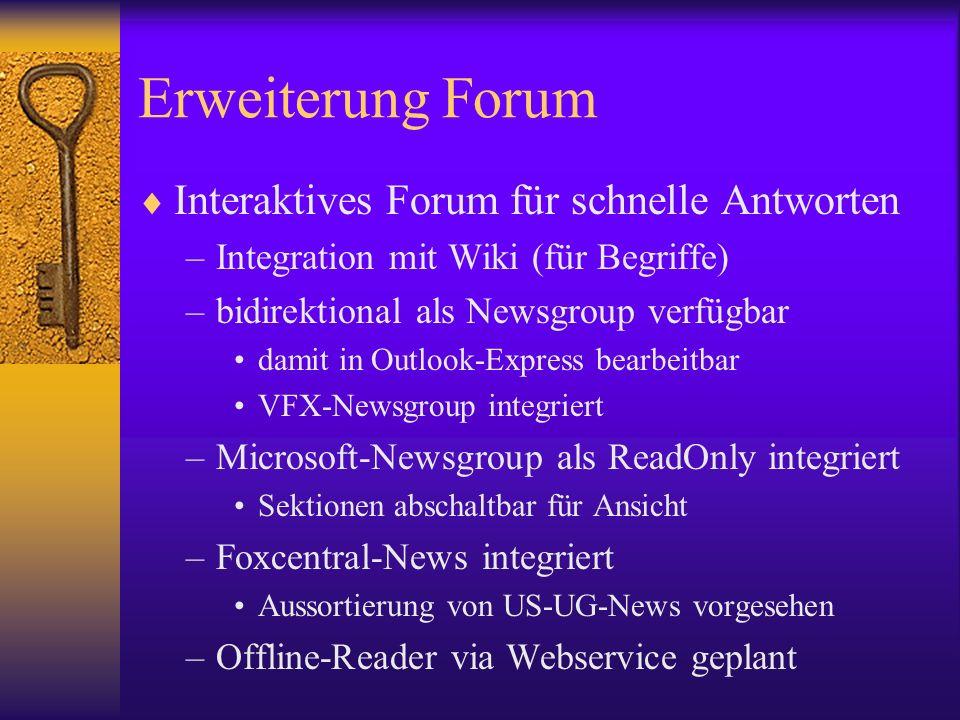 Erweiterung Forum Interaktives Forum für schnelle Antworten –Integration mit Wiki (für Begriffe) –bidirektional als Newsgroup verfügbar damit in Outlo
