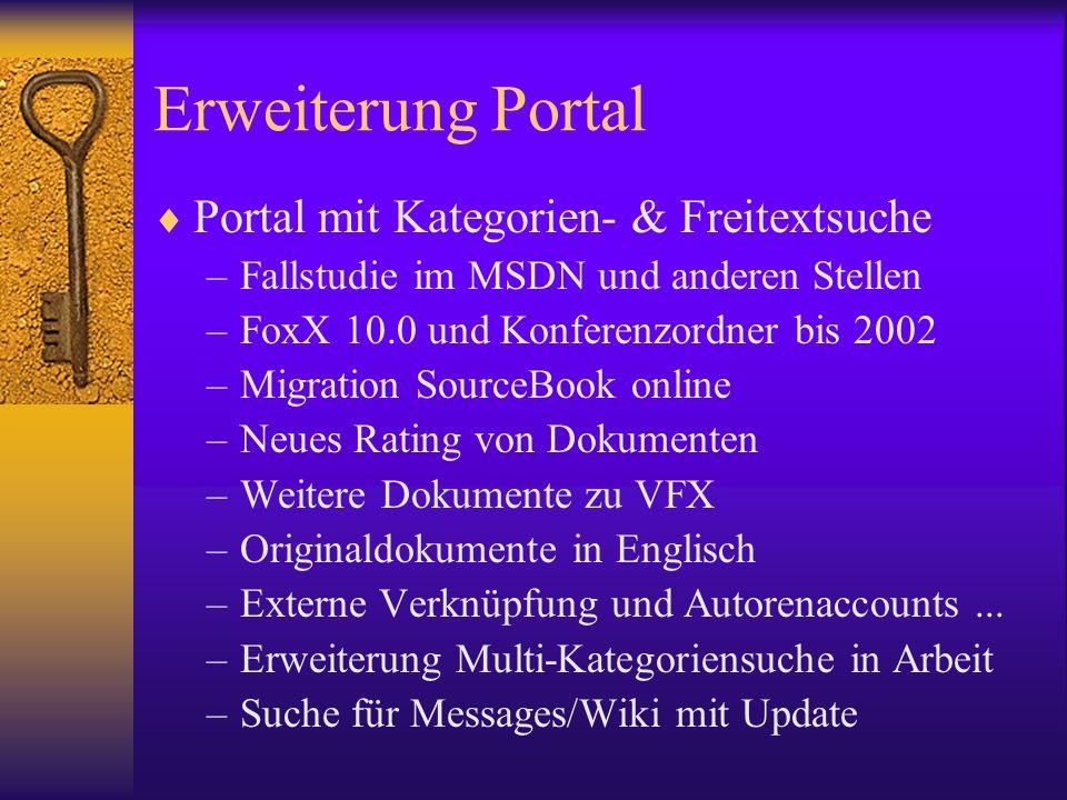 Erweiterung Portal Portal mit Kategorien- & Freitextsuche –Fallstudie im MSDN und anderen Stellen –FoxX 10.0 und Konferenzordner bis 2002 –Migration S