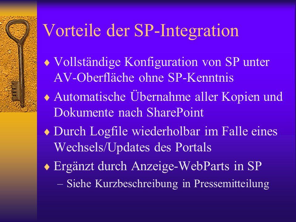 Vorteile der SP-Integration Vollständige Konfiguration von SP unter AV-Oberfläche ohne SP-Kenntnis Automatische Übernahme aller Kopien und Dokumente n